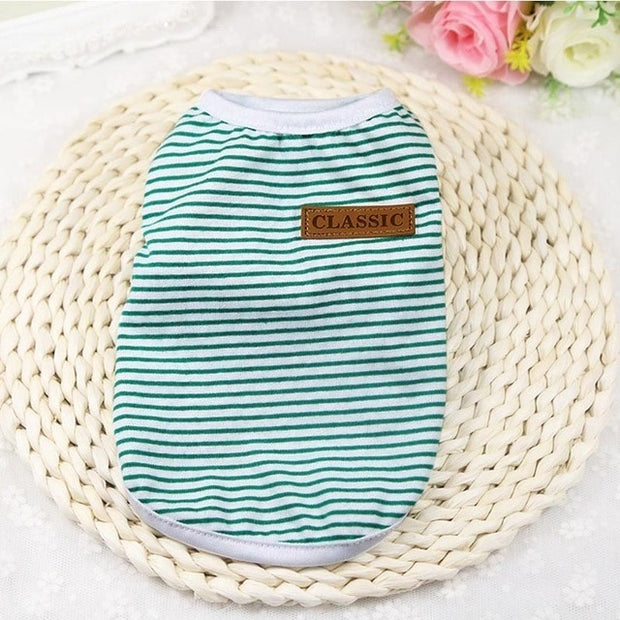 Light blue striped Soft dog sweater