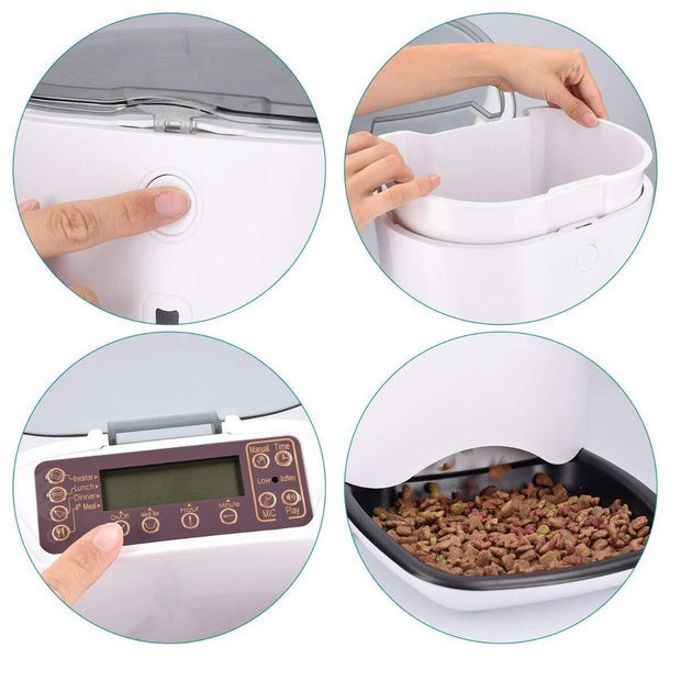 Various pictures of how the automatic pet food dispenser works