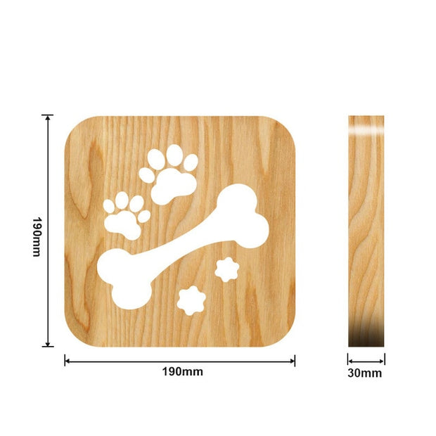 Wooden Dog bone with paws Night Light Measurements