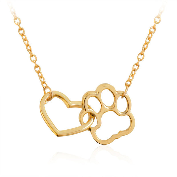 Dog paw footprint and heart necklace gold