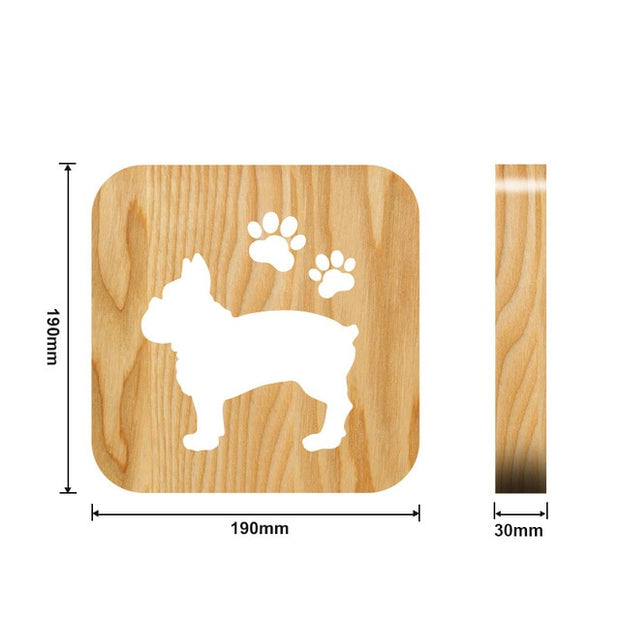 Wooden bull dog with paws Night Light Measurements