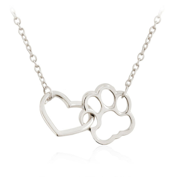Dog paw footprint and heart necklace silver
