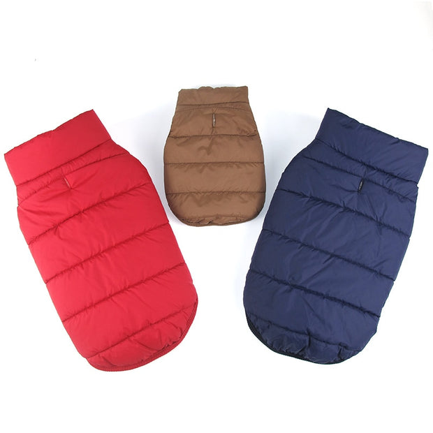 Red, dark blue, and brown Bubble style dog coat