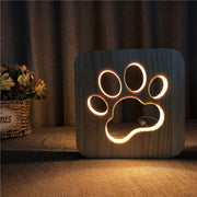 Wooden Dog Paw Night Light