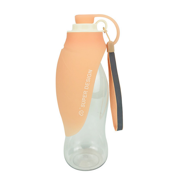 Peach and clear Portable Dog Water Bottle