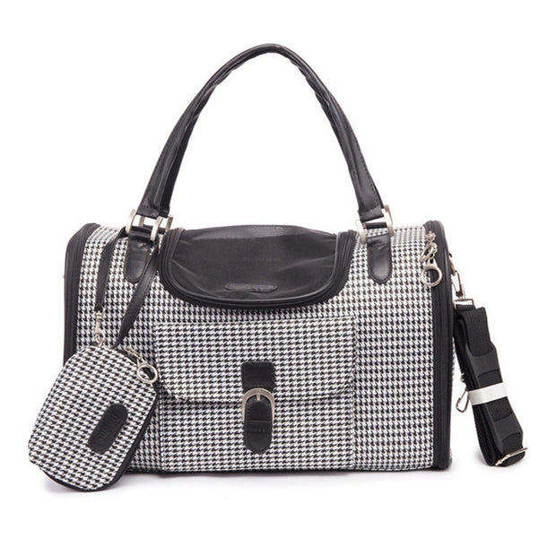 Gray  dog carrier with purse