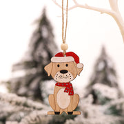 4pcs Red Hat Wooden Dog Christmas Tree Ornaments