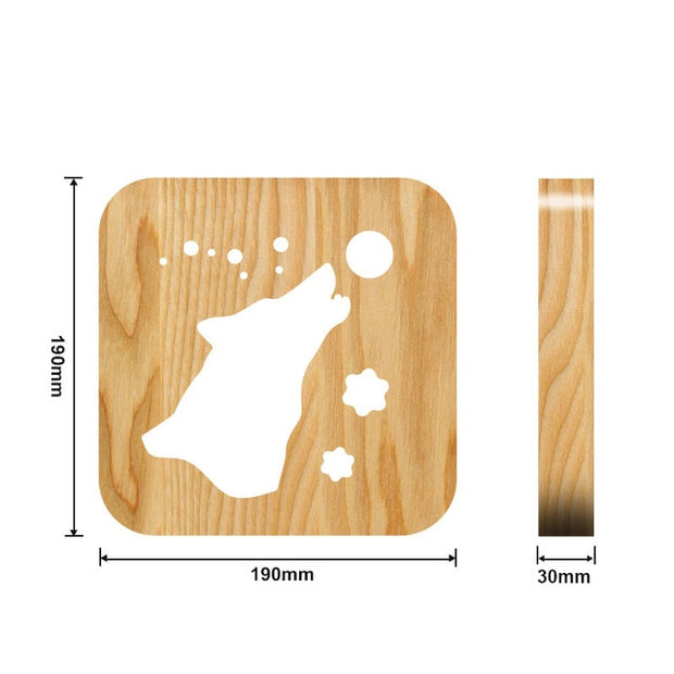 Wooden wolf and moon Night Light Measurements