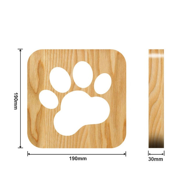 Wooden Dog Paw Night Light Measurements