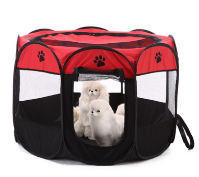 Red eight sided foldable dog tent