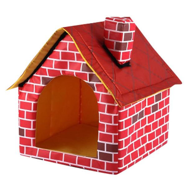 Red brick pattern dog house and bed
