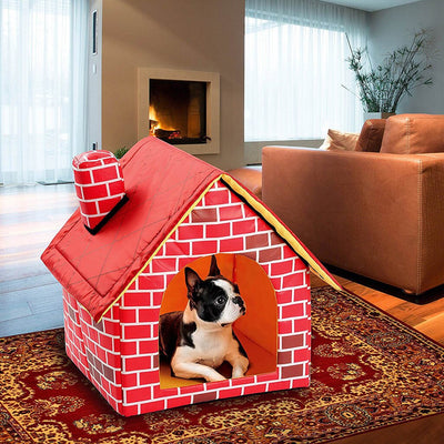 Red brick pattern dog house and bed with dog inside