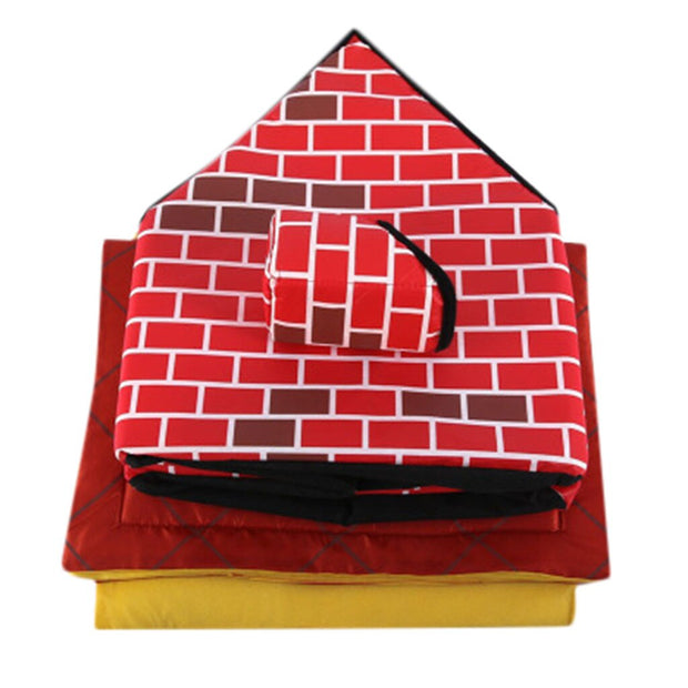 Red brick pattern dog house and bed folded for storage