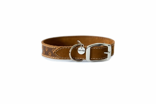 Brown elegant style leather dog collar