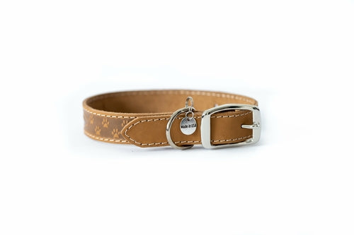 Light brown elegant style leather dog collar