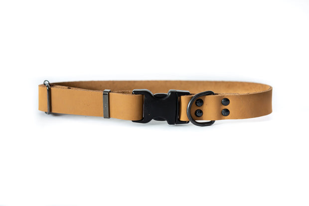 Light Brown Sport style quick release soft leather dog collar