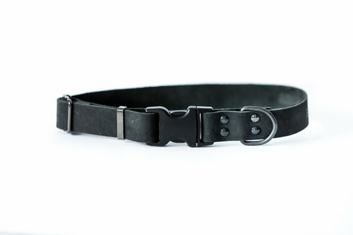 Black Sport style quick release soft leather dog collar