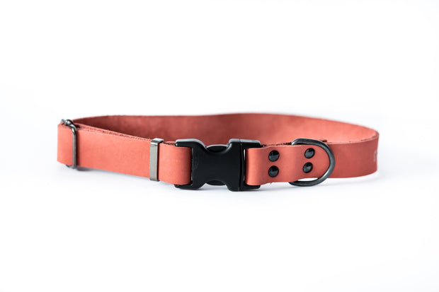 Pink Sport style quick release soft leather dog collar