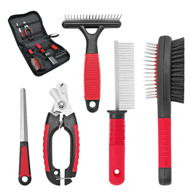 Dog grooming set, nail clippers, comb, brush, file