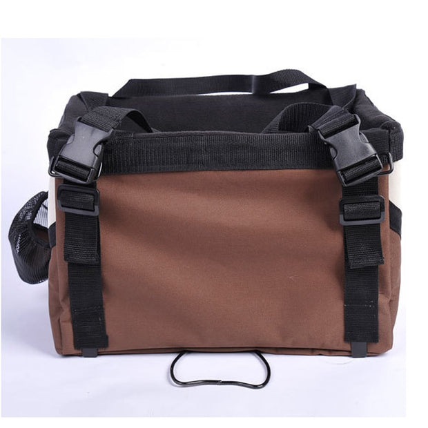 Brown and black Portable dog bicycle carrier bag
