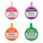 Ecoplastic Dog ID Tag pink, purple, orange, green
