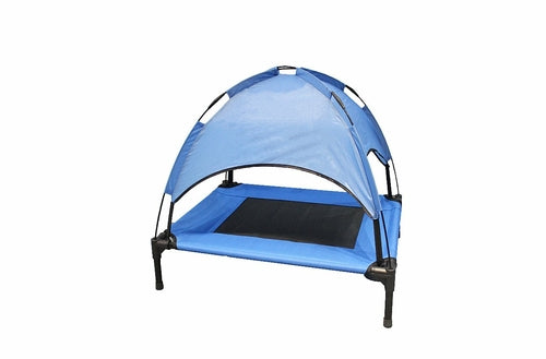 Blue foldable elevated dog cooling bed