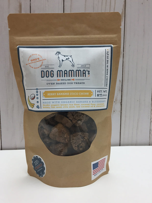 Bag of berry banana coco chunk organic dog treats