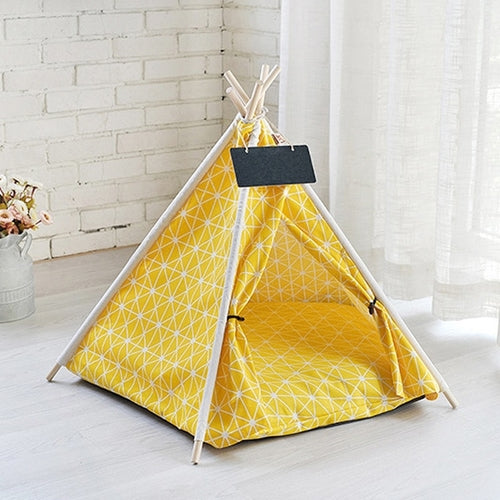 Yellow Portable Linen Dog Tent and Bed