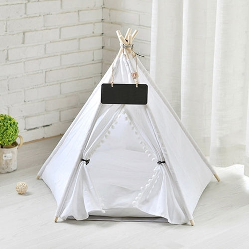White Portable Linen Dog Tent and Bed