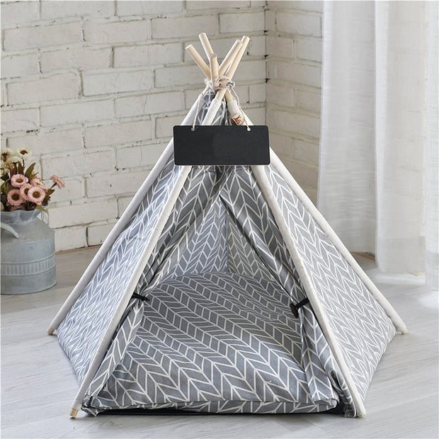 White and gray Portable Linen Dog Tent and Bed