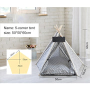 Five corner tent with dimentions Portable Linen Dog Tent and Bed