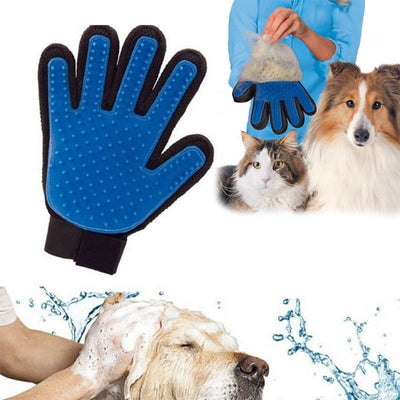 Rubber Brush Glove with dog and cat