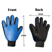 Front and back view with measurements of a blue Rubber Brush Glove