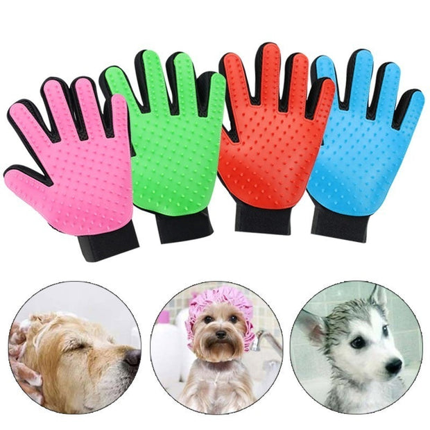 Rubber Brush Glove collection with dogs being bathe