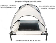 White foldable elevated dog cooling bed with canopy