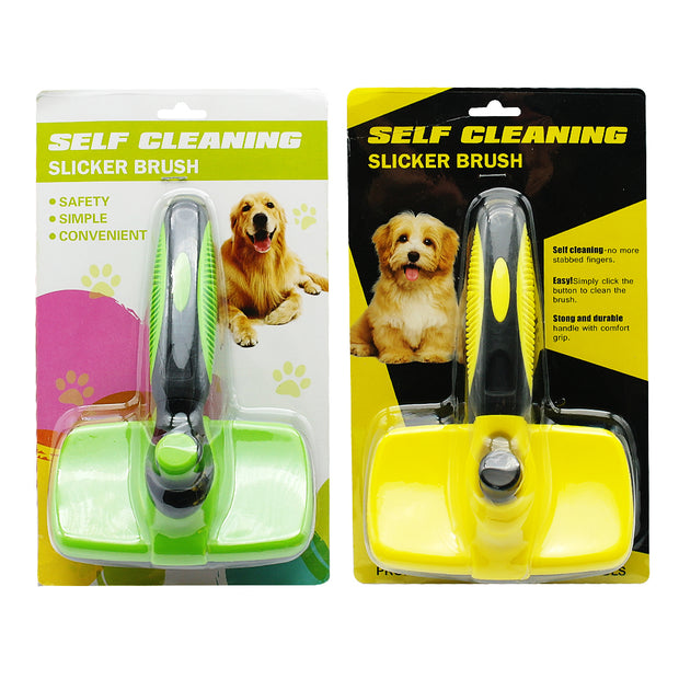 Green and yellow self cleaning dog brush in the package