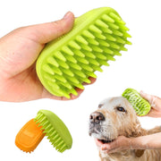 Holding a Silicon Pet Brush and using it on a dog