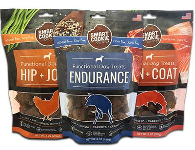 Three pack sampler of healthy dog treats