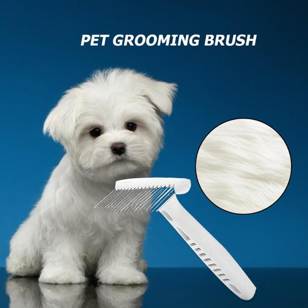 Steel Rake Comb for Short or Long Hair dog with picture of white dog