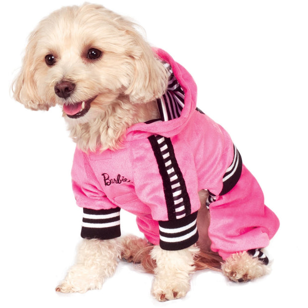 Small dog wearing the Barbie Girl velour Jumpsuit