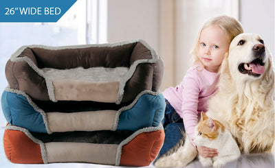 Soft Touch All Seasons 26'' Dog Bed Collection with girl and dog