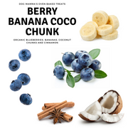 Ingredients of berry banana coco chunks, blueberry, banana, cinnamin, coconut