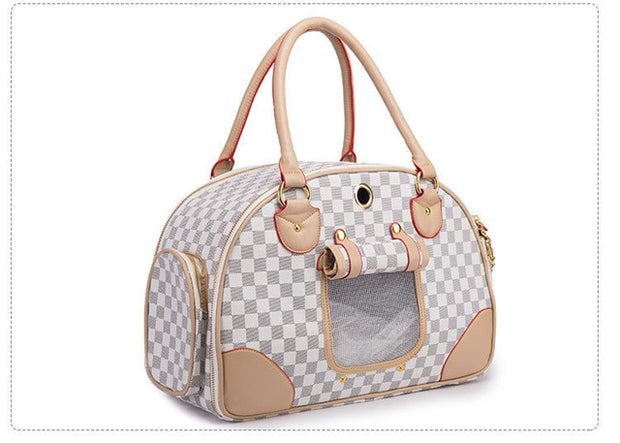 Gray white and brown checkered dog carrier bag
