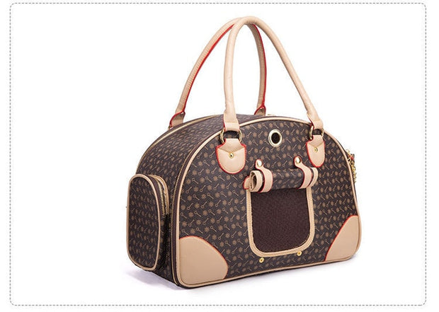 Two tone brown  dog carrier bag