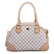 Back view of Gray white and brown checkered dog carrier bag