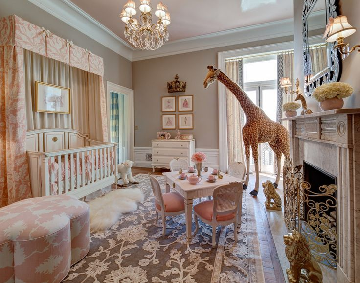 Fancy nursery with a giant giraffe from barn and willow
