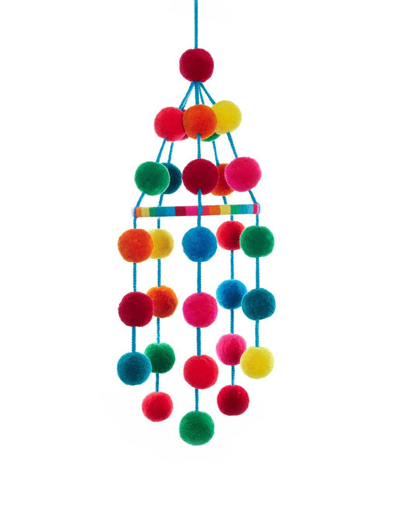 Colorful pompom nursery mobile, home decor