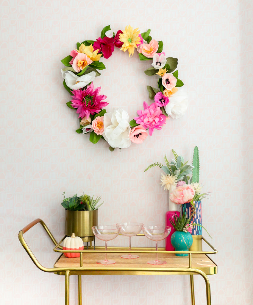 DIY, home decor, flower crown, pink and yellow flowers