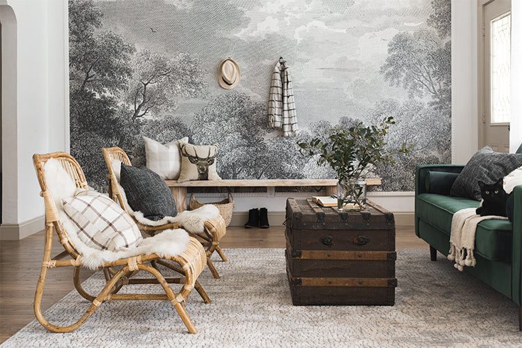 Jenna Sue Design living room with wall mural and trunk table