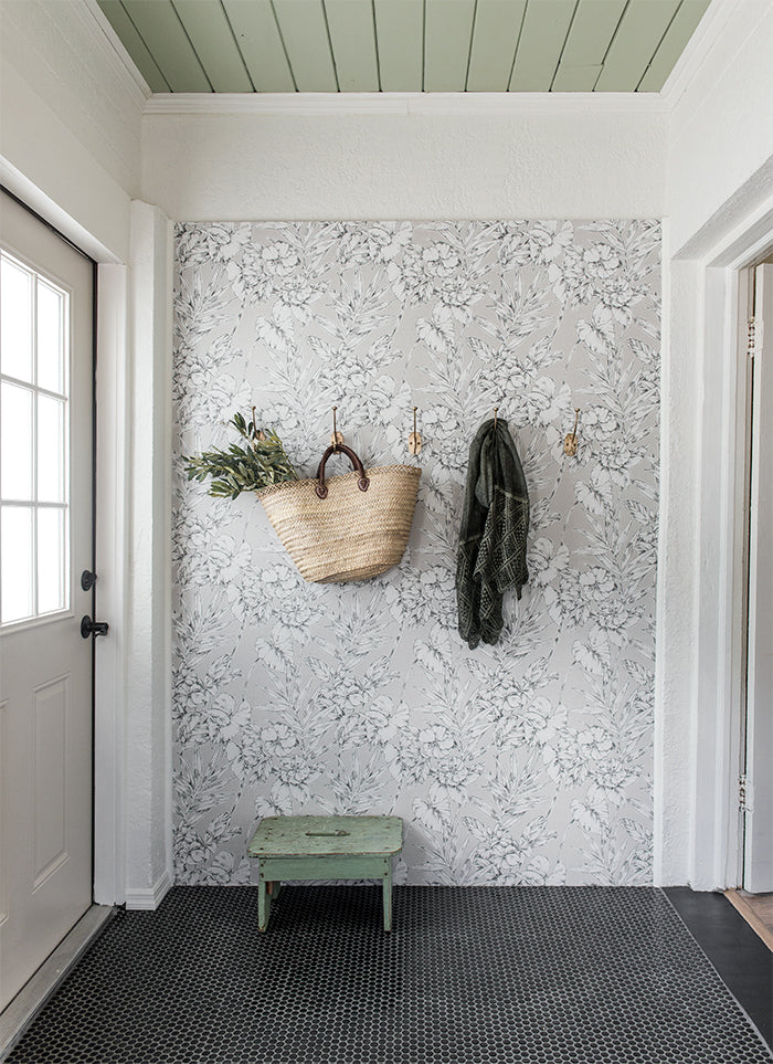 Jenna Sue Design entrance way with floral wallpaper
